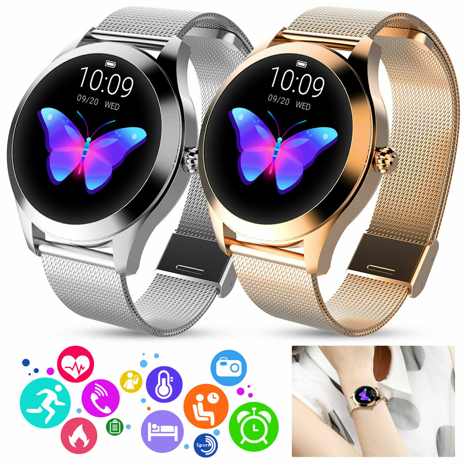 Women Bluetooth Smart Watch Waterproof Heart Rate Pedometer For Android iOS Gift android bluetooth Featured for heart pedometer rate smart watch waterproof women