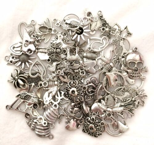50 Mixed Charms ** Butterflies Baby Flowers Hearts etc ** Choose Colour **