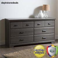 Bedroom Double Dresser 6-drawer Provincial Solid Wood Chest Set Desk Gray Maple