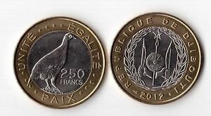 DJIBOUTI-BIMETAL-UNC-COIN-250-FRANCS-2012-YEAR-BIRD