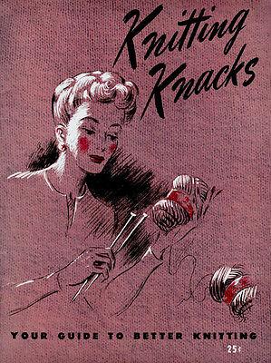 Bear Brand Knitting Knacks c.1945 Handy Vintage Sizing Guide for Bear Brand Yarn