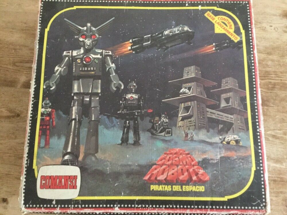 Vintage Comansi Cosmo Robots Space Action Figure Set Within Its Original Box