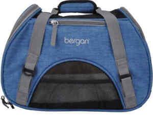 Bergan Dog Cat Pet Airline Comfort Carrier Tote with Fleece Bed Small Bermuda