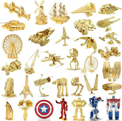 Rare Gold Metal 3D Laser Cut Miniature Model Kits Building Puzzle Toy Gift
