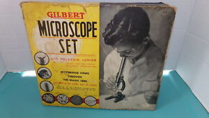 Vintage-Gilbert-Microscope-Set-No-2-Polaroid-Jr-Incomplete-SHIPS-FREE