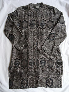 Chico's Size 1 Gray Black Beaded Embellished Baroque Tapestry Jacket Long Coat