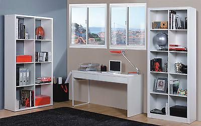 Milan White Gloss Computer Desk Table Bookcase Office Furniture Bookshelf
