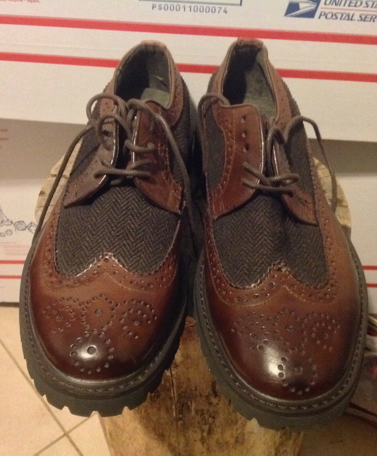 Joseph Abboud Men's Brown Wing tip leather lace-up Shoes Size 10D