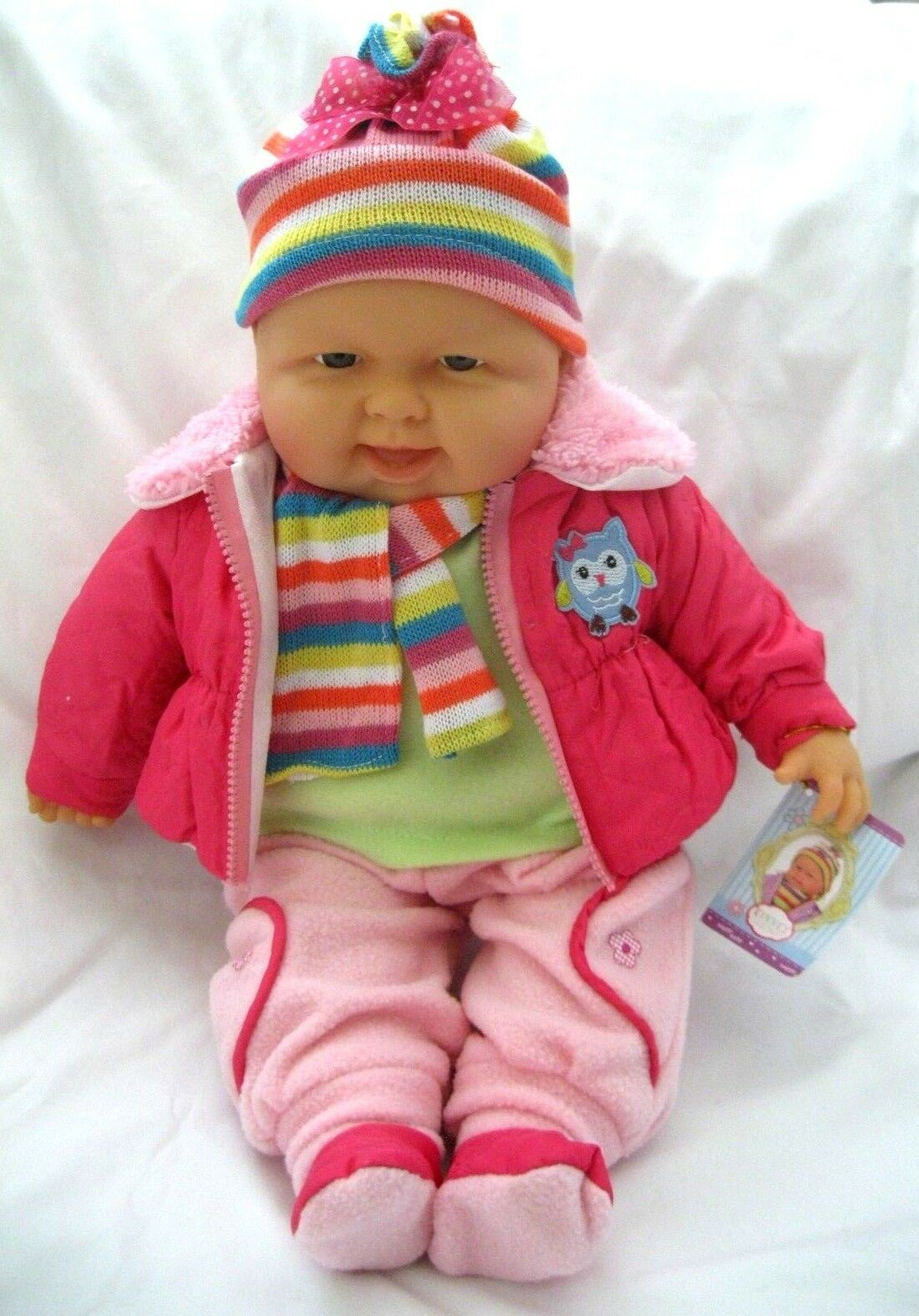 Kinnex 20  Limited Edition with Sound Sound Sound Baby Doll in Pink Outfit,Beanie,Scarf-New  cdd6af