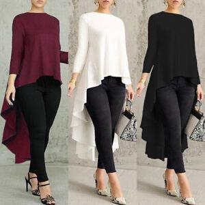 Womens-Long-Sleeve-Asymmetrical-Waterfall-Shirt-Tops-High-Low-Blouse-Plus-Size