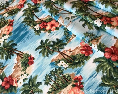 ROSE /& HUBBLE TROPICAL ISLAND HAWAIIAN LIGHT TURQUOISE BLUE FABRIC 100/% COTTON