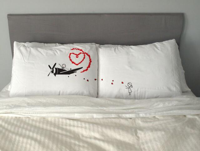 Love Plane Pillow Case Valentine's Day Gift  Wedding Anniversary Couples Present