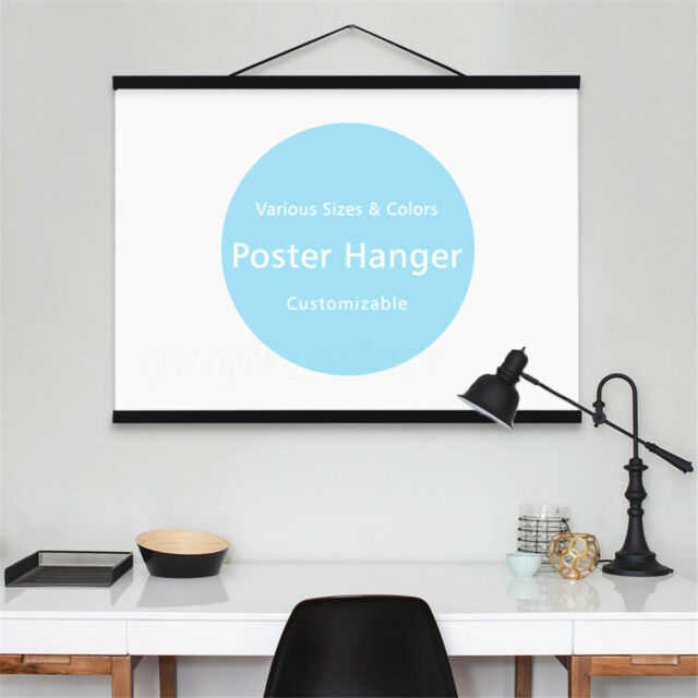 7 Size Black Magnet Wooden Photo Frame Scroll Custom Poster Artwork Print Hanger