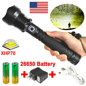2X High Power 900000Lumens Zoom Flashlight LED Rechargeable Super Bright Torch