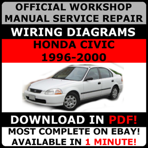 official workshop service repair manual honda civic 1996 2000 rh ebay com 1996 Honda Civic 4 Door 1996 Honda Civic Four-Door Black