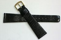 Seiko 20mm Black Genuine Classic Lizard Authentic Watch Band Strap-nos