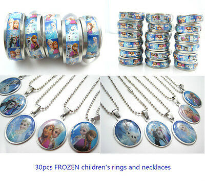 30pcs frozen mixed stainless steel rings and pendant necklaces girl's party gift