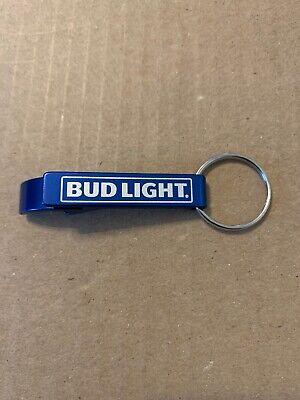 """BUD LIGHT 2.5/"""" Bottle Opener Keychain Blue Aluminum Beer Key Ring"""