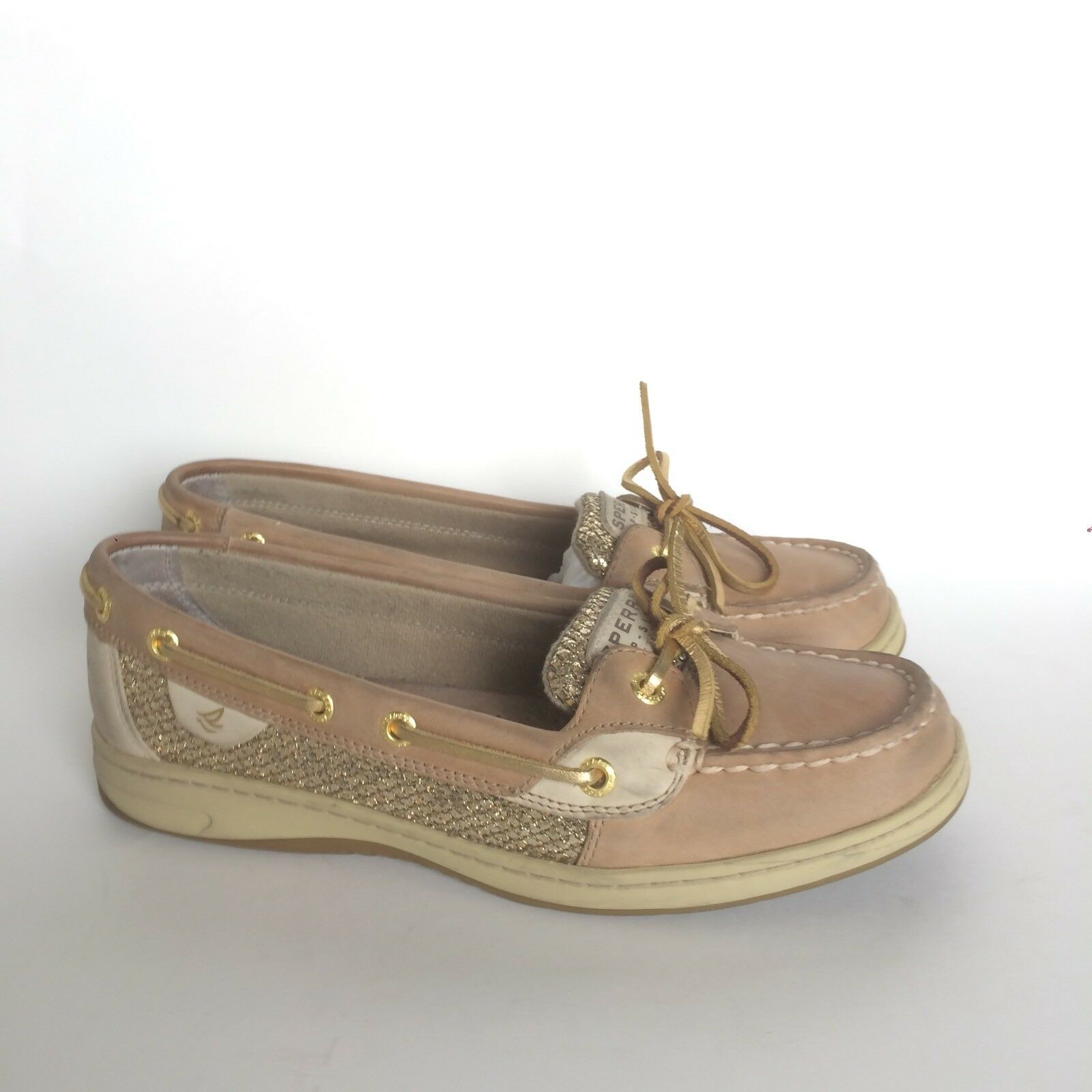 Sperry Top-Sider Bottes en Cuir Marron Chaussures Bateau Taille 7.5 or Sparkle Slip Ons