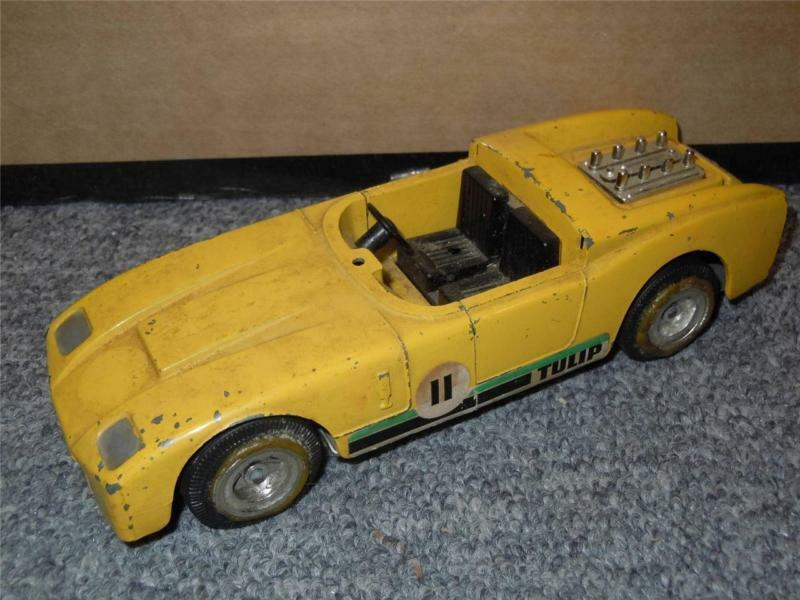 Vintage Triang 6.5  Yellow Die Cast Race Car Model Tulip Toy JC 1968 Rare