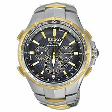 Mens Seiko Solar Gold Silver Stainless Chronograph Alarm Radio Watch SSG010