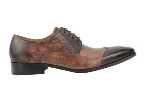 Tone Brown pelle stringate 2 in Smart Vintage vera Mens formale scarpe brogue New aq6En