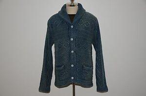 ffa971f8a Ralph Lauren RRL Heavy Knit 100% Cotton Indigo Dyed Faded Cardigan ...