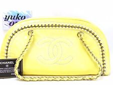my7006 Auth CHANEL Yellow Patent Leather Luxe Ligne Large Bowler Shopper Bag SHW