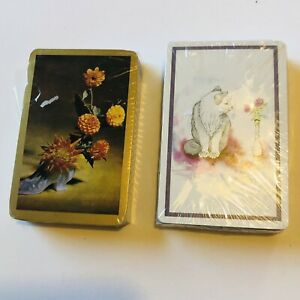 Vintage Cats Kittens Flowers Playing Cards New Sealed Packs 2
