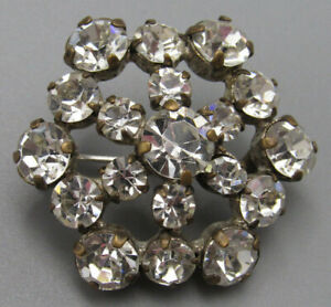 High End Vintage Jewelry Domed Crystal Flower Brooch Pin