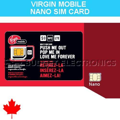 Virgin Mobile Nano SIM Card for iPhone 5 5S 5C 6 PrePaid Postpaid Canada Travel