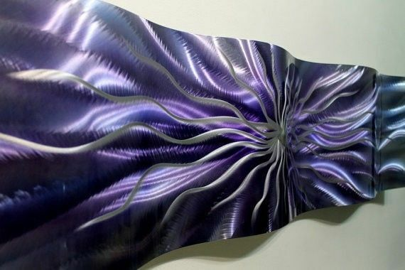 Purple/Silver Metal Wall Art Accent Wave - Hand-Painted Contemporary Home Decor