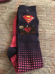 d63296c7dec Image is loading Nwt-Superman-Knee-High-Motion-activated-Socks-womens-
