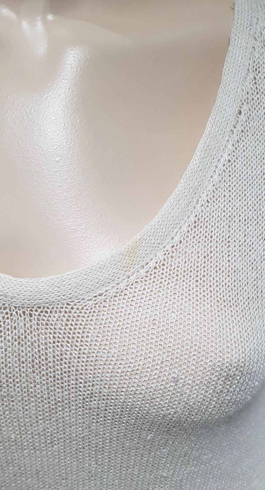 BRUNELLO CUCINELLI Cream Linen & Silk Sequin Sequin Sequin Embellished Jumper Sweater Top M 76145e