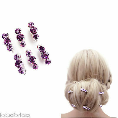6 on a card Lilac Hair Clips Pink Snaps Crystal Bridal For Up Dos