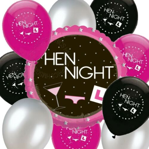 Hen Night Balloons Helium Quality Pink Black Silver Venue Party Decorations Pack