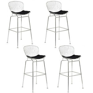 Prime Details About Set Of 4 Bertoia 25 H Wire Counter Stools Chromed Steel Black Leatherette Pads Theyellowbook Wood Chair Design Ideas Theyellowbookinfo