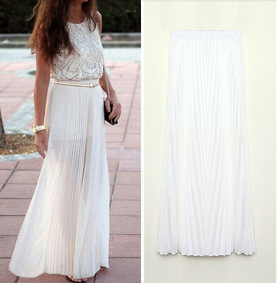 Women's Chiffon Pleated Retro Long Maxi Dress Double Layer Elastic Waist Skirt