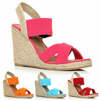 NEW WOMENS LADIES SUMMER ESPADRILLE WEDGES WEDGE ELASTIC STRAP'S SHOES SIZE 3-8