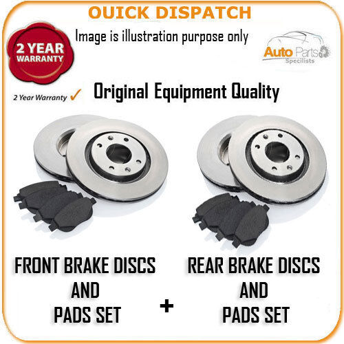 3200 FRONT AND REAR BRAKE DISCS AND PADS FOR CITROEN C4 COUPE 1.6 16V VTI 10//200