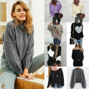 Pullover-Outwear-Sleeve-Round-Neck-Winter-Long-Sweater-Women-Ladies-Tops-Pearl