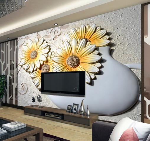 3D Gelb Cosmos 598 Wallpaper Murals Wall Print Wallpaper Mural AJ WALL UK Kyra