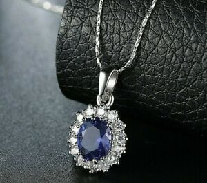 925-Sterling-Silver-Oval-Blue-Sapphire-White-Topaz-Pendant-18-034-Chain-Necklace