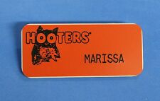 HOOTERS RESTAURANT GIRLS MARISSA ORANGE NAME TAG (WAITRESS PIN WITH BLACK OWL)