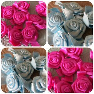 Ruban Satin Roses Boutons Embellissements vendu au mètre