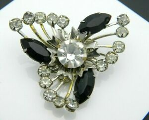 Clear-Black-Rhinestone-Flower-Burst-Silver-Tone-Pin-Brooch-Vintage