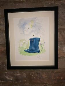 Bumble-Bees-Wellington-Boots-Original-Watercolour-Painting-Original-Art