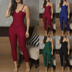Women-039-s-Strappy-Clubwear-Summer-Playsuit-Bodycon-Party-Jumpsuit-Romper-Trousers