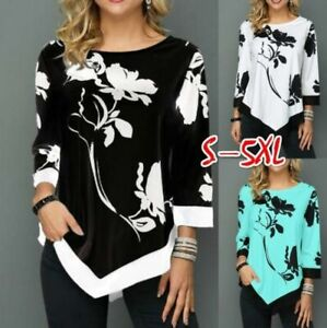 Pullover-Jumper-O-Neck-Tops-Womens-Floral-Casual-Long-Sleeve-Loose-T-Shirt