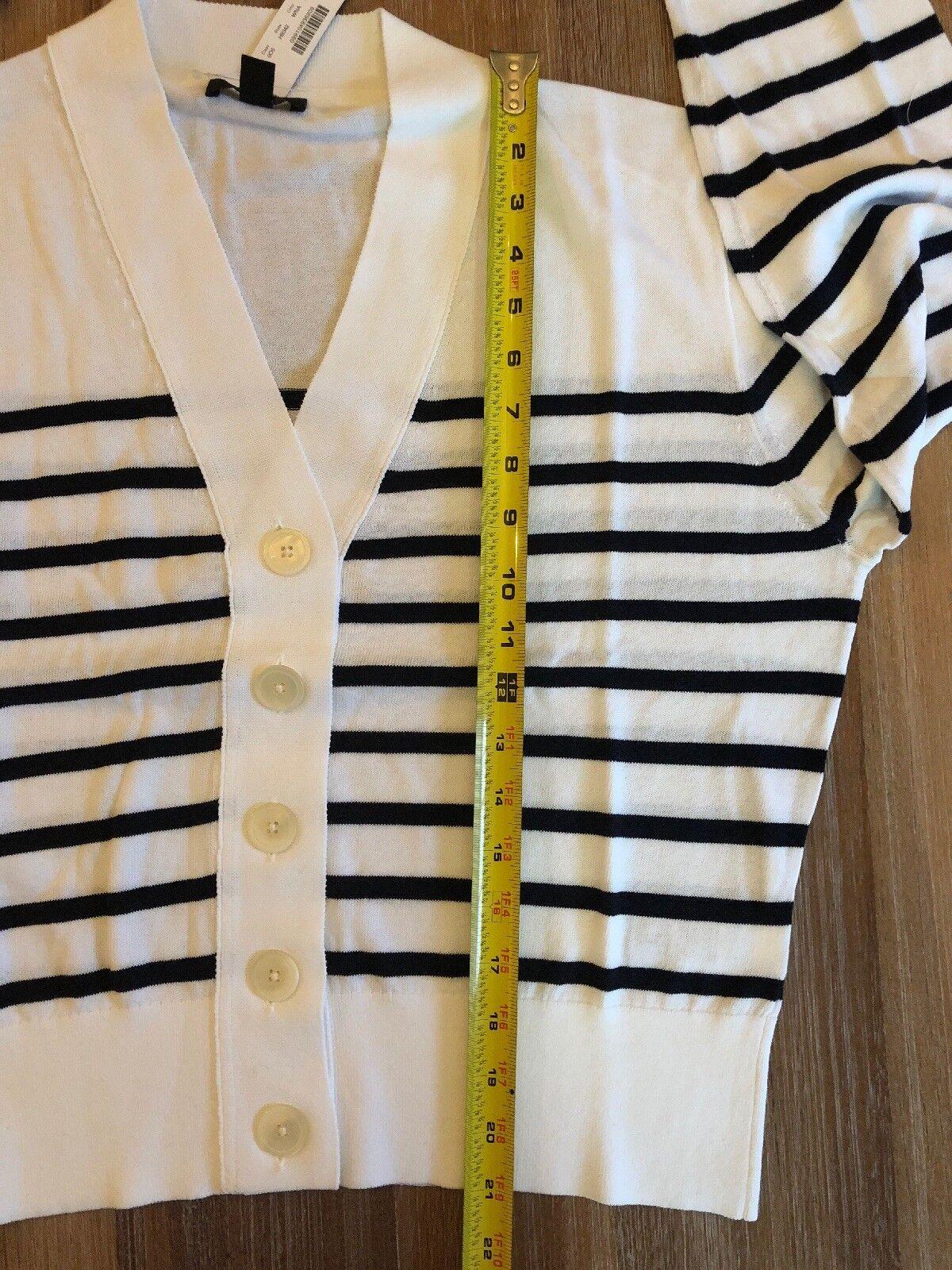 NWT J Crew Women's Cropped Lightweight Lightweight Lightweight Cardigan Sweater White & Navy Stripe - XL 355215
